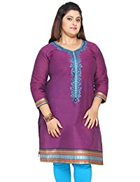 Women's Cotton Embroidered Long Plus Size Indian Kurtis Tunic Top
