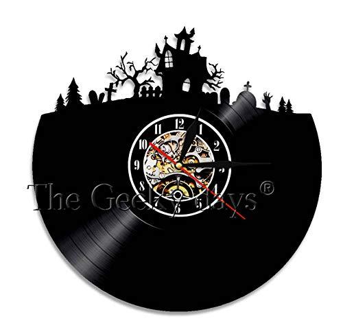 yltian Halloween Town Trick or Treat Retro Vinyl Record Wall Art Clock Decoration Wall Clock ()