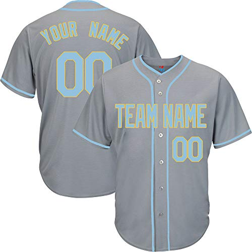 Gray Custom Baseball Jersey for Youth Button Down Embroidered Team Player Name & Numbers,Light Blue-Yellow Size XL