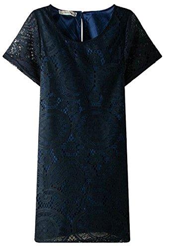 Neck 1 Jaycargogo Line Sleeve Dress A Womens Short Round Lace qExqrzZ