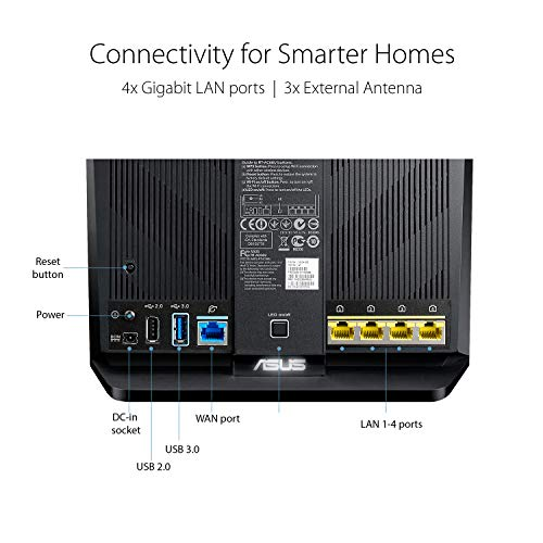 ASUS Whole Home Dual-Band AiMesh Router (AC1900) for Mesh Wifi System (Up to 1900 Mbps) - AiProtection Network Security by Trend Micro, Adaptive QoS & Parental Control (RT-AC68U)