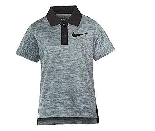 Nike Little Boys' Short Sleeve Polo Shirt (Cool Grey Heather (76C217-G1D) / Black/Black, 4)