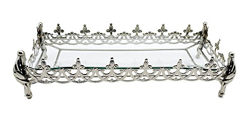 Fine Royal Rectangle Glass Platter Dish Tray On Metallic Silver Base by IMPORTED GIFT DEPOT (Image #1)