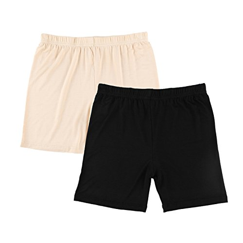Liang Rou Women's Ultra Thin Stretch Short Leggings Plain Black/Apricot M