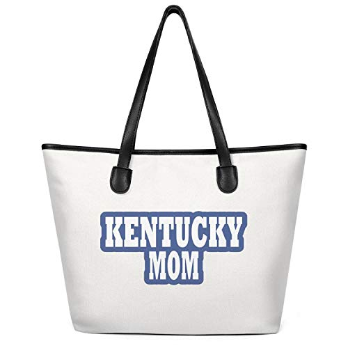 12.5X14 Inches Cute Zip Spacious And Roomy Canvas Large Tote Bag For Women Kentucky Mom Reusable Beach Work Gym Book Lunch School Shopping Shoulder Handbag]()