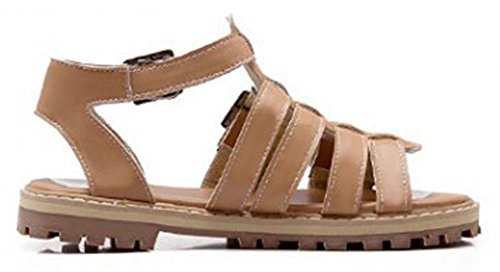 Sfnld Womens Trendy Buckle Gladiator Flat Lug Sole Sandals Apricot 2FRcJUp