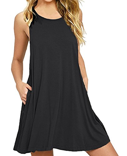 Cover Cotton Womens Jersey (lymanchi Women Swing Dress with Pockets Loose Casual Sleeveless Tunic Mini Dress Black L)
