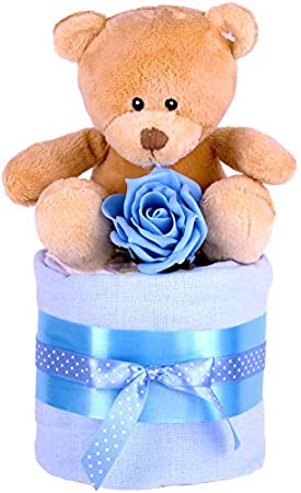 PureNappyCakes Luxury Deep Filled New Baby Shower Nappy Cake (Blue, 2 Tiers) 2dflb