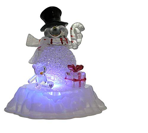 BANBERRY DESIGNS Snowman Figurine LED Acrylic Snowman Color Changing Lights