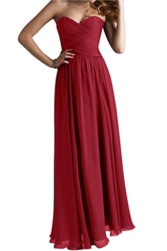 Weinrot A Abendmode Festkleid Linie Herzform Bride Lang Chiffon Gorgeous Modisch Abendkleid XvzTx4