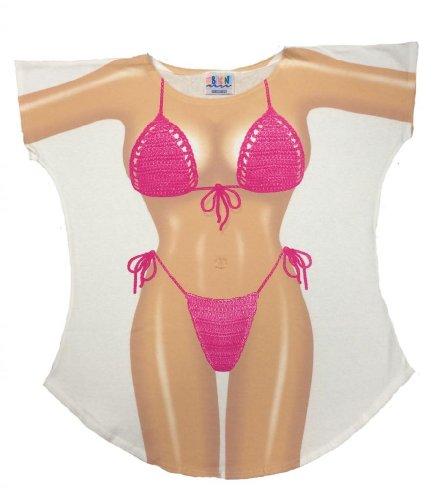 Fuchia Macrame Bikini Cover-Up T-Shirt Size - Up Mens Cover
