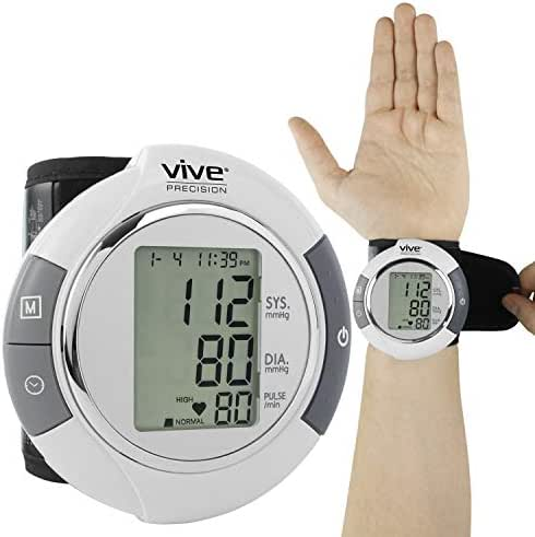 Vive Precision Blood Pressure Cuff Wrist - Automatic BPM - Digital Monitor BP Tester Machine - Portable, Accurate, Electronic, Home Meter Device - Auto Heart Reader for Pulse Rate - 1 Size Fits Most