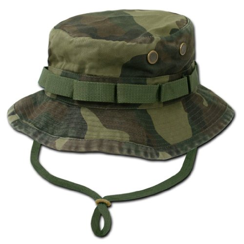 (Decky Military Style Drawstring Jungle Boonie Bucket Hat (Woodland Camouflage, Large))