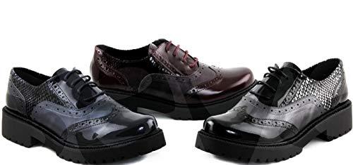 De À estil Lacets Ville Zapatos Pour Chaussures Femme Bordeaux Noir 7nUqdIxA