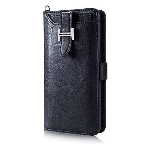 過敏なエクスタシー叱るSamsung Galaxy S9 Plus ケースおしゃれ、elecfanJ 高級PUレザー 財布型 カードポケット マグネット ストラップ付き 耐衝撃 全面保護 取り外し可能 カバー