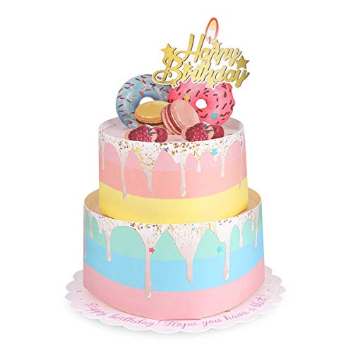 PartyKindom Double Layers Donut Cake Pop Up Birthday Card for Women and Kids, Gold Embellishments with Colorful Macaron, Grapes, Donut Design