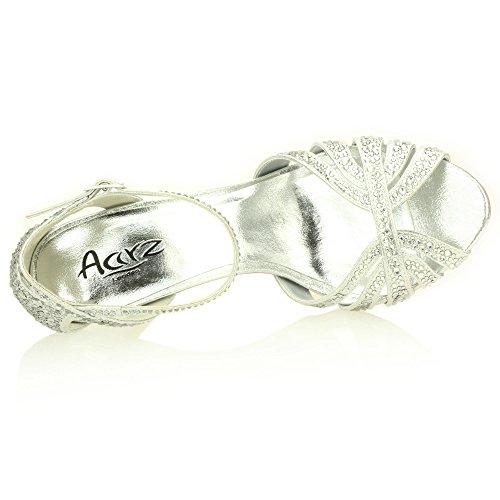 Mujer Señoras Noche Boda Party Alto tacón Stiletto Diamante Peep Toe Nupcial Sandalia Zapatos tamaño (Oro, Plata, Estaño) Plata