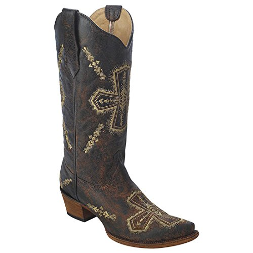 Nieuwe Cirkel G Door Corral Womens Cross Embroid Western Boot Brn Crackle / Bone