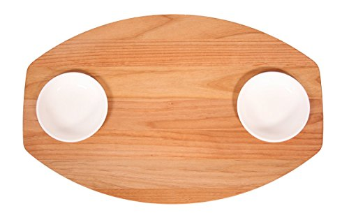 Out of the Woods of Oregon Double Bread and Oil Board with 2 White Dipping Bowls