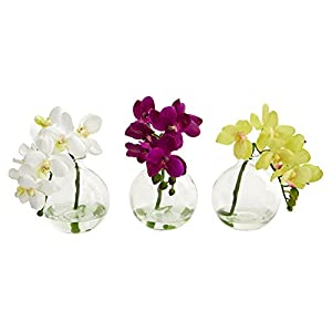 "Nearly Natural Artificial (Set of 3) 9"" Phalaenopsis Orchid Arrangement in Vase Multi/Color 3 Piece 43"