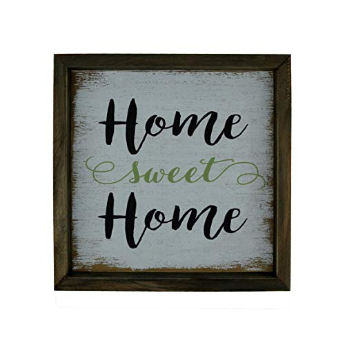 CVHOMEDECO. Primitives Distressed Home Sweet Home Shadow Box Frame Wall Mounted Hanging Decor Art, 9-3/4 x 9-3/4 Inch from CVHOMEDECO.