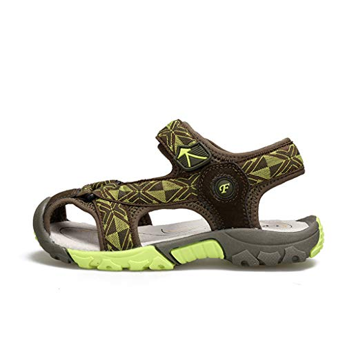 (Leisuraly Boys Girls Closed-Toe Breathable Athletic Outdoor Summer Sandals(Toddler/Little Kid/Big Kid Green)