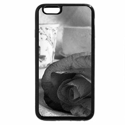 iPhone 6S Plus Case, iPhone 6 Plus Case (Black & White) - Rose and cup