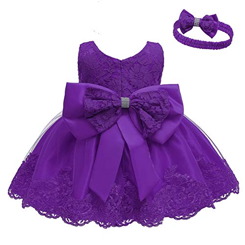 Baby Toddler Lace Dress Girls First Baptism Elegant Embroidery Wedding Party Flower Bridesmaid Bowknot Dresses Up Dark Purple