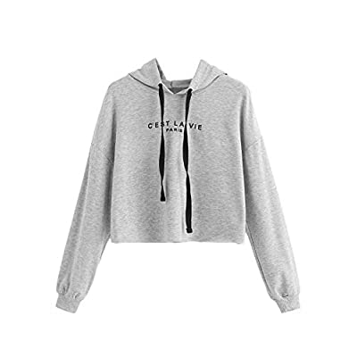ROMWE Women's Letter Print Sweatshirt Raw Hem Drawstring Crop Top Hoodie at Women's Clothing store