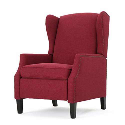 Weyland Wingback Traditional Fabric Recliner (Deep Red)