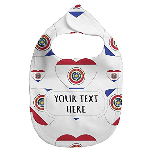 Heart Flag Bib - Baby Fleece Bib Custom Paraguay Flag Hearts Pattern Unisex Children, One Size