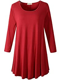 Women 3/4 Sleeve Tunic Top Loose Fit Flare T-Shirt