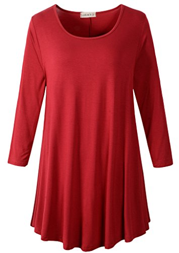 LARACE Women 3/4 Sleeve Tunic Top Loose Fit Flare T-Shirt(M, Wine Red)