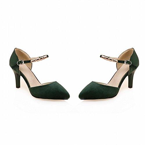 Pied De Charme Femmes Cheville Sangle Talon Haut Bout Pointu Dorsay Chaussures Vert Foncé