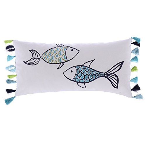 Levtex Embroidered Fish with Tassels Pillow