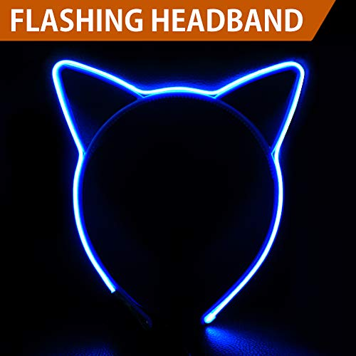 HOME MOST Flashing LED Light Up Cat Ears Headband for Kids Girls, Blue - Party Favors Costume Headband for Women Adults - EL Wire Neon Rave Led Kitty Ear Headband Lights for Halloween Cosplay Party