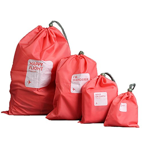 Foryee Waterproof Storage Bag - Nylon 4 Different Size - Drawstring Bags / Ditty Bag / Cord Bag /Shoes Bag for Travel Home Outdoor Hiking Camping - Red