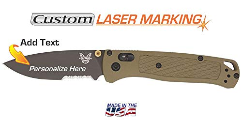 Custom Laser Engraved Benchmade Bugout Knife Smoked Gray Serrated Edge 535SGRY-1