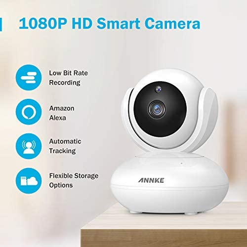 ANNKE 1080P IP Camera, Smart Wireless Pan Tilt Home Security Camera, APP Alarm Push, Two-Way Audio, Support 64GB TF Card, Cloud Storage Available, Work with Alexa Echo Show Echo Spot