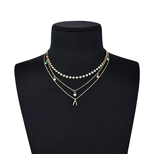 Triple Chain Charm Necklace - 6