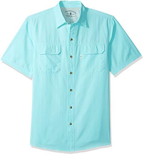G.H. Bass & Co. Men's Explorer Short Sleeve Button Down Fishing Shirt Solid Flap Pocket, Aqua Splash 1, Large ()