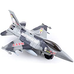 """Toy4U Air Force: 10.5"""" Grey Camouflage Fighter Jet Aircraft Airplane Toy with LED Light"""