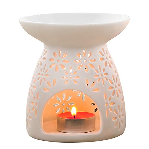 HOOKDOR Ceramic Essential Oil Burner, Aromatherapy Tea Light Candle Holder,White Petal Porcelain Wax Warmer,Perfect for Home Bedroom,Living Room,Balcony, Garden Decoration (Petal Tealight Holder)
