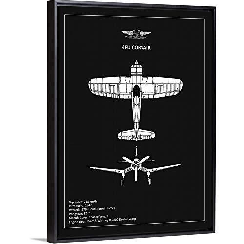 (BP CV F4U-Corsair Black Black Floating Frame Canvas Art, 20