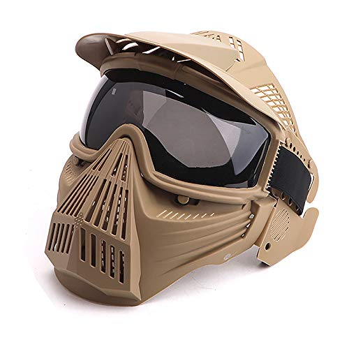 Anyoupin Paintball Mask, Airsoft Mask Full Face with Goggles Impact Resistant for Airsoft BB Hunting CS Game Paintball and Other Outdoor Activities Tan-Gray Lens by Anyoupin