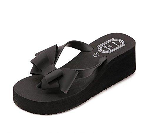 Bowknot Black Pantofole Donna Spiaggia Black Mid Sandali Piattaforma Heel 37 Infradito TZ7TqwY
