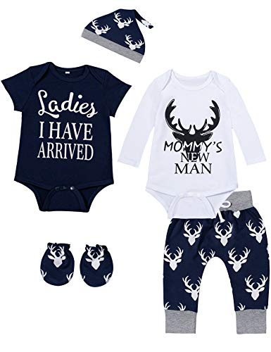 bakjuno Baby Boy Deer Outfit Mommy's New Man Clothes Daddy's Hunting Buddy Pant Set