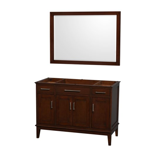 Wyndham Collection Hatton 48 inch Single Bathroom Vanity in Dark Chestnut, No Countertop, No Sink, and 44 inch Mirror