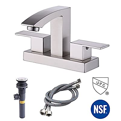 KES LEAD-FREE BRASS Two Handle Bathroom Waterfall Faucet with Drain Assembly Lavatory Vanity Sink Faucet 4-Inch Centerset Morden Square Hotel Style, L4101-P