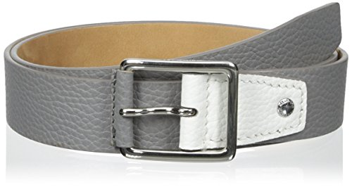 Cole Haan Men's 38 mm Flat Edge Belt with Nose Wrapped Center Bar Buckle, Grey/White, 40 - Leather Pebbled Buckle Belt